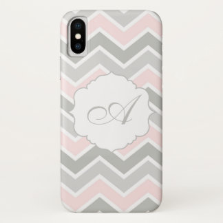Coque iPhone X Monogramme rose et gris de Chevron de zigzag