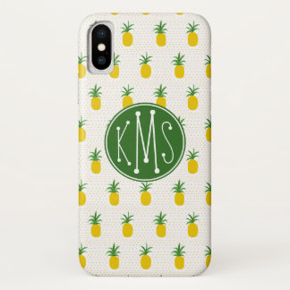 Coque iPhone X Monogramme tropical d'or des ananas |