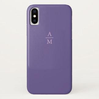 Coque iPhone X Monogramme ultra-violet et rose minimaliste de