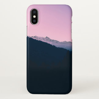 Coque iPhone X Montagne rose - ton deux