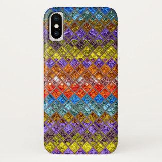 Coque iPhone X Motif abstrait #2 en verre souillé de mosaïque
