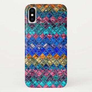 Coque iPhone X Motif abstrait #3 en verre souillé de mosaïque