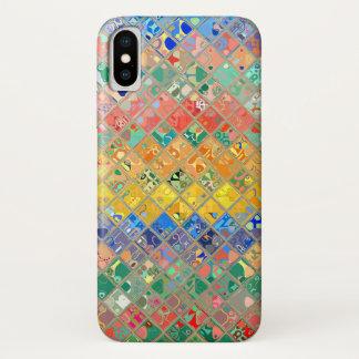 Coque iPhone X Motif abstrait #4 en verre souillé de mosaïque