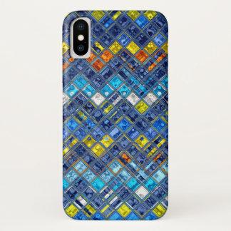 Coque iPhone X Motif abstrait en verre souillé de mosaïque