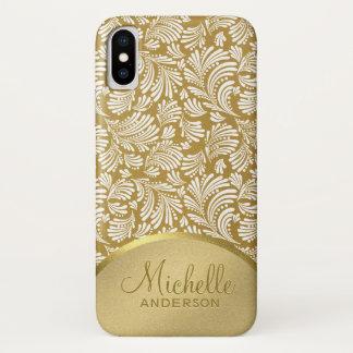 Coque iPhone X Motif abstrait floral métallique d'or du Faux des