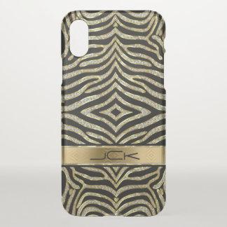 Coque iPhone X Motif animal de zèbre d'or et de parties