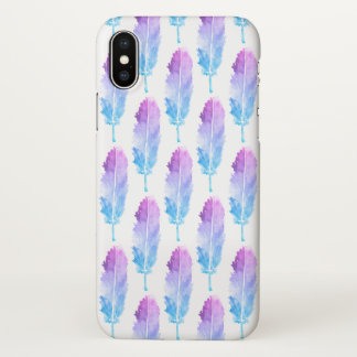 Coque iPhone X Motif bleu pourpre de plume d'aquarelle