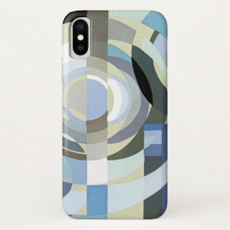 Coque iPhone X Motif bleu vintage de cercles de rétro jazz d'art