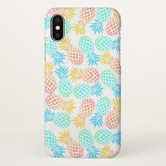 Coque iPhone X motif coloré tropical d'ananas d'été élégant