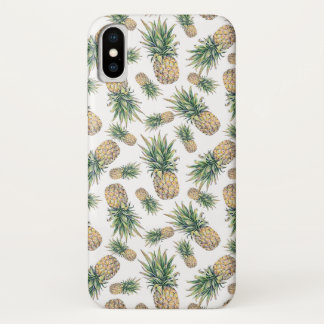 Coque iPhone X Motif d'ananas d'aquarelle