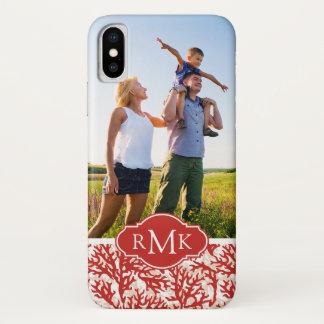 Coque iPhone X Motif | de corail rouge votre photo et monogramme