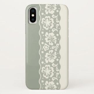 Coque iPhone X Motif de dentelle, cru 5 de fleur