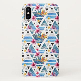 Coque iPhone X Motif de fleur tropical géométrique abstrait