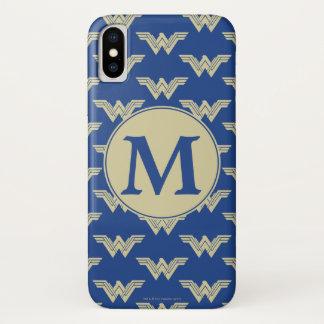 Coque iPhone X Motif de logo de femme de merveille de monogramme