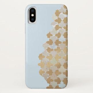 Coque iPhone X Motif de mosaïque bleu de pastel et d'or