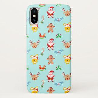 Coque iPhone X Motif de Noël d'homme de Père Noël, de renne, de
