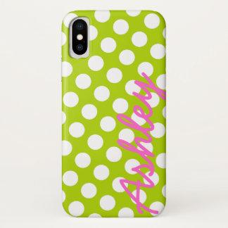 Coque iPhone X Motif de point à la mode de polka avec le nom -