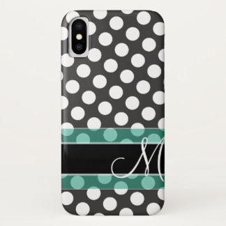 Coque iPhone X Motif de point de polka avec le monogramme