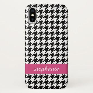Coque iPhone X Motif de très bon goût de pied-de-poule - noir et
