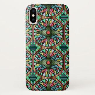 Coque iPhone X Motif d'édredon de la boussole du marin coloré