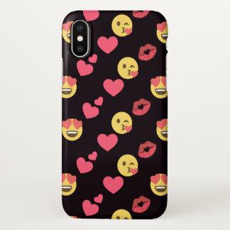 Coque iPhone X motif doux mignon de lèvres de baiser de coeurs