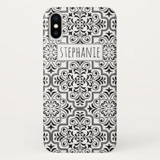 Coque iPhone X Motif et nom noirs et blancs de damassé