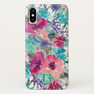 Coque iPhone X Motif floral d'aquarelle à la mode avec le