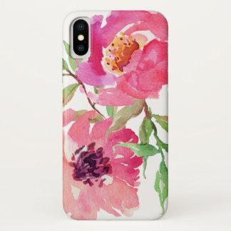 Coque iPhone X Motif floral d'aquarelle de roses indien