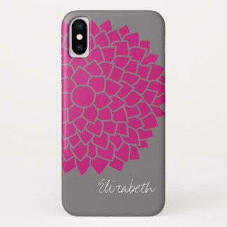 Coque iPhone X Motif floral moderne - gris et rose