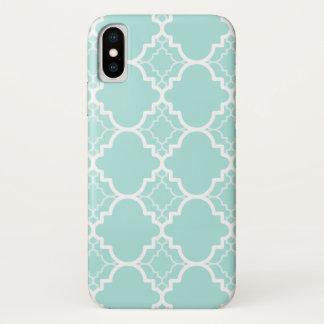 Coque iPhone X Motif géométrique bleu de Quatrefoil d'Aqua