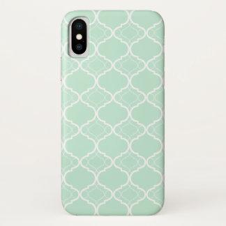Coque iPhone X Motif géométrique vert en bon état de Quatrefoil