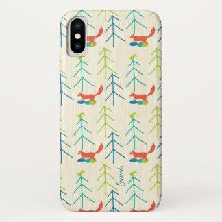 Coque iPhone X Motif lumineux de Fox de couleurs de fille vintage