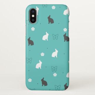 Coque iPhone X motif mignon de fleur et de papillon de lapin