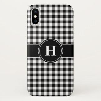 Coque iPhone X Motif noir et blanc décoré d'un monogramme de