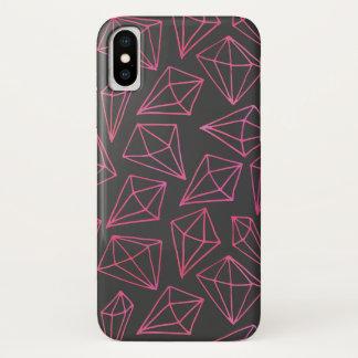 Coque iPhone X Motif noir et rouge de la vie de diamant