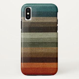 Coque iPhone X Motif rayé d'automne chaud vintage, tons de la