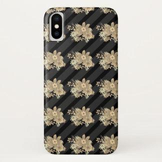 Coque iPhone X Motif/rayures floraux élégants