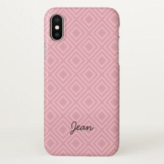 Coque iPhone X Motif rose de diamant avec le nom fait sur