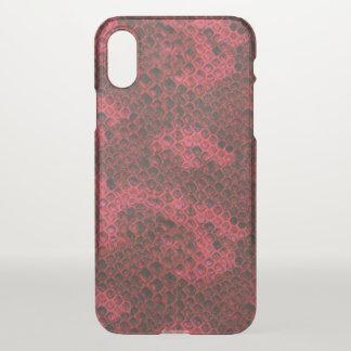 Coque iPhone X Motif rouge et noir de venin de serpent de peau