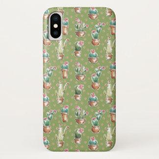 Coque iPhone X Motif vert d'étape | de fleur de désert