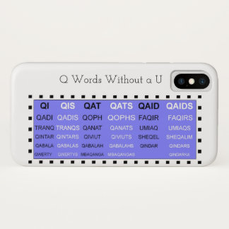 Coque iPhone X Mots de Q sans aide de jeu d'U