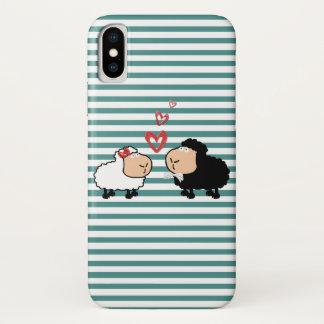 Coque iPhone X Moutons drôles mignons adorables de bande dessinée