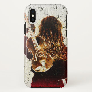 Coque iPhone X Musique d'or de cheveux de Brown de robe rouge