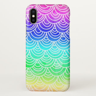 Coque iPhone X Néon d'aquarelle d'échelle de poissons de feston