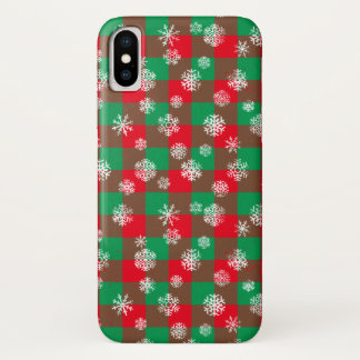 Coque iPhone X Noël de plaid de Buffalo de flocon de neige