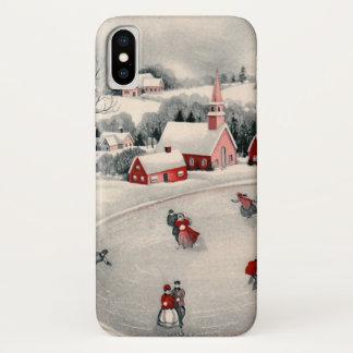 Coque iPhone X Noël vintage, patineurs de glace victoriens sur