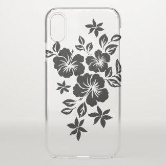 Coque iPhone X Noir floral hawaïen de ketmie de Lilikoi