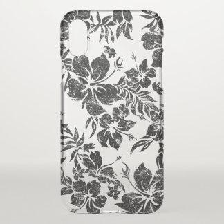 Coque iPhone X Noir floral hawaïen de Pareau de ketmie Aloha -