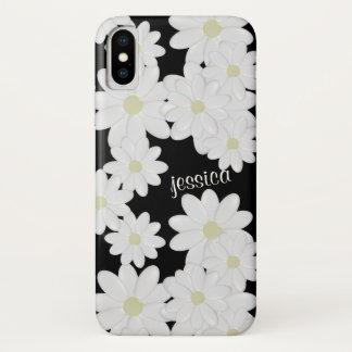 Coque iPhone X Noir moderne de marguerite blanche