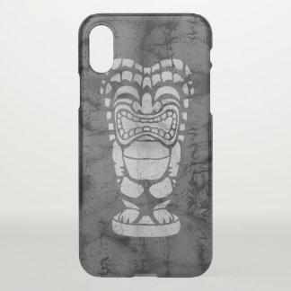 Coque iPhone X Noir riant hawaïen de batik de Tiki de plage de